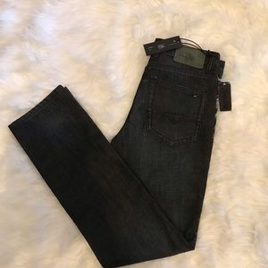 Buffalo David Button | Evan Slim Dark & Worn Jeans